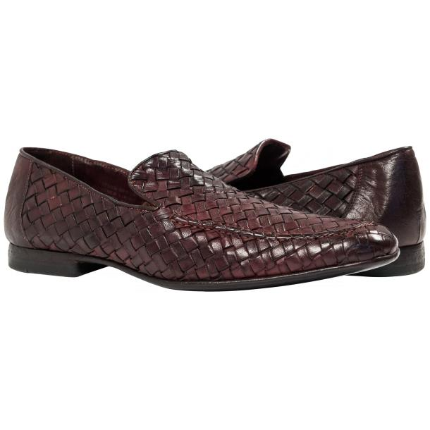 Caesar Dip Dyed Oxblood Nappa Leather Hand Woven Slip Ons  full-size #1
