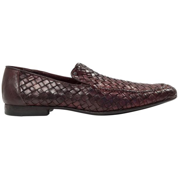 Caesar Dip Dyed Oxblood Nappa Leather Hand Woven Slip Ons  thumb #4