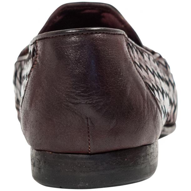 Caesar Dip Dyed Oxblood Nappa Leather Hand Woven Slip Ons  thumb #5