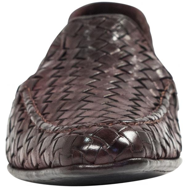 Caesar Dip Dyed Oxblood Nappa Leather Hand Woven Slip Ons  thumb #3