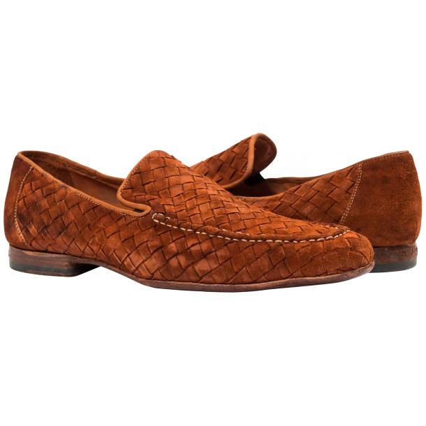 Jerome Dip Dyed Brick Suede Hand Woven Slip Ons  full-size #1