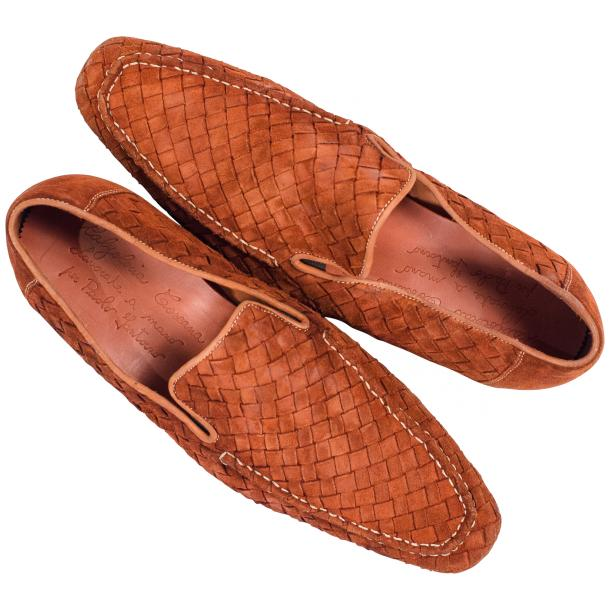 Caesar Dip Dyed Brick Suede Hand Woven Slip Ons  thumb #2