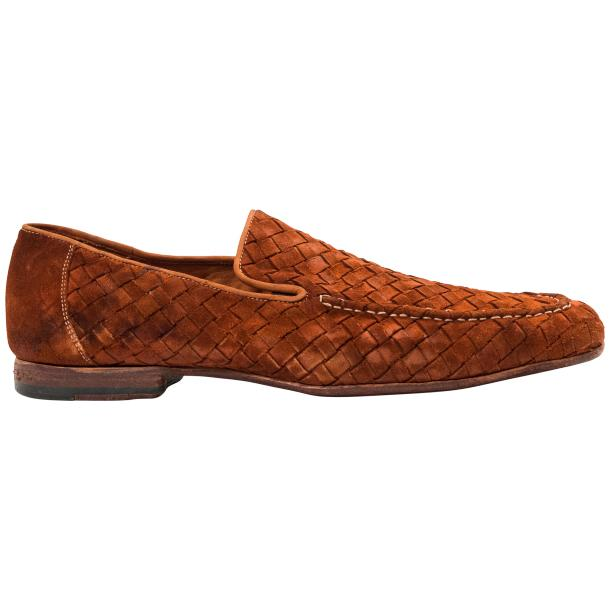Caesar Dip Dyed Brick Suede Hand Woven Slip Ons  thumb #4