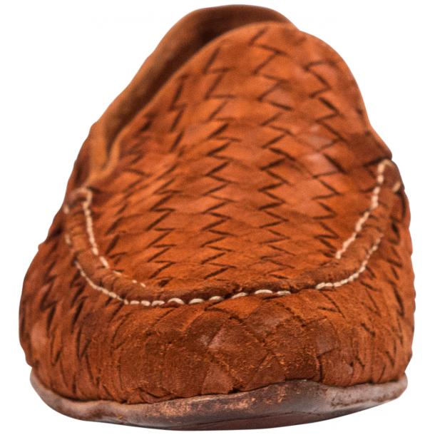 Caesar Dip Dyed Brick Suede Hand Woven Slip Ons  thumb #3