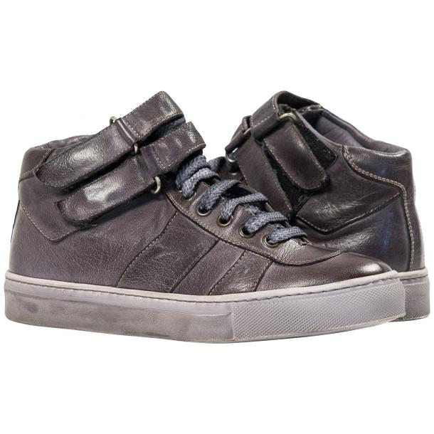 Nova Grey Nappa Leather Dip Dyed Velcro High Top Sneakers full-size #1