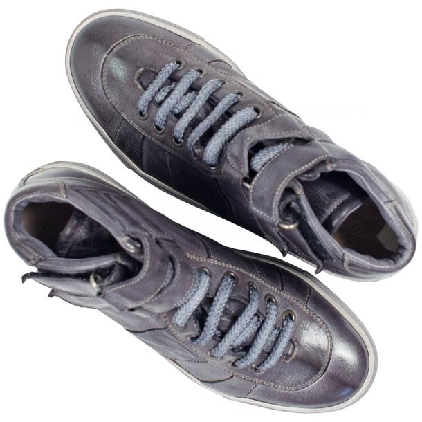 Nova Grey Nappa Leather Dip Dyed Velcro High Top Sneakers thumb #2