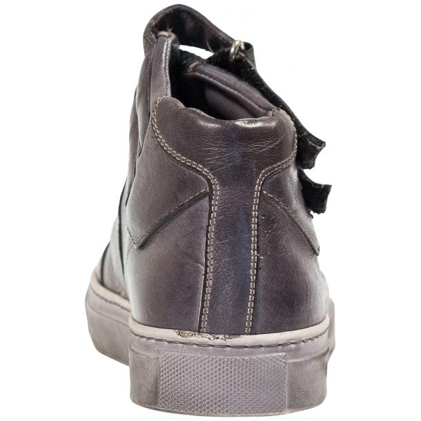 Nova Grey Nappa Leather Dip Dyed Velcro High Top Sneakers thumb #5
