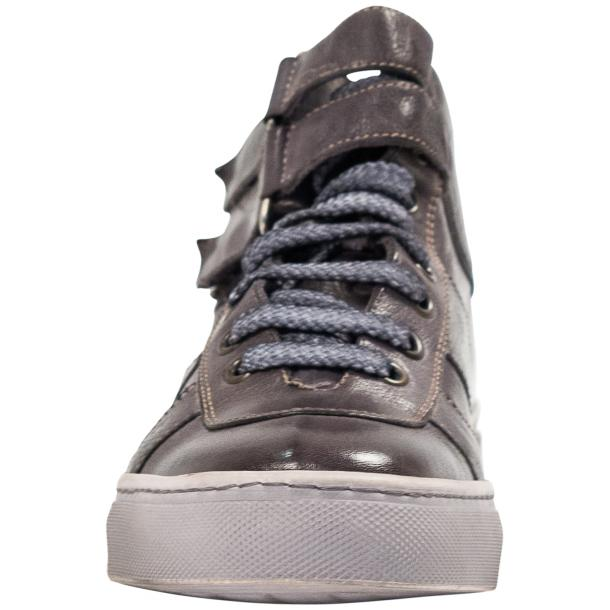Nova Grey Nappa Leather Dip Dyed Velcro High Top Sneakers thumb #3