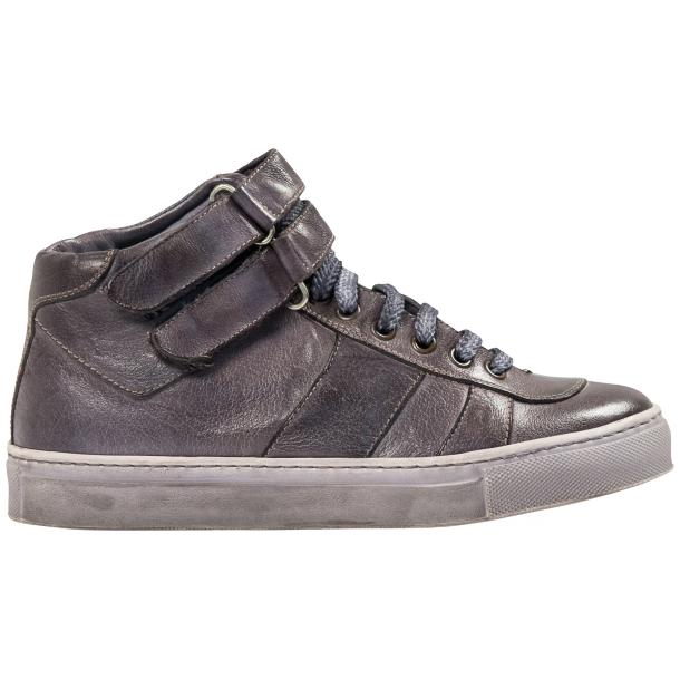Nova Grey Nappa Leather Dip Dyed Velcro High Top Sneakers thumb #4