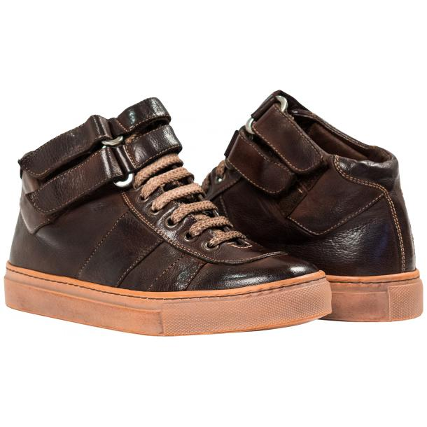 Arlene Brown Nappa Leather Dip Dyed Velcro High Top Sneakers thumb #1