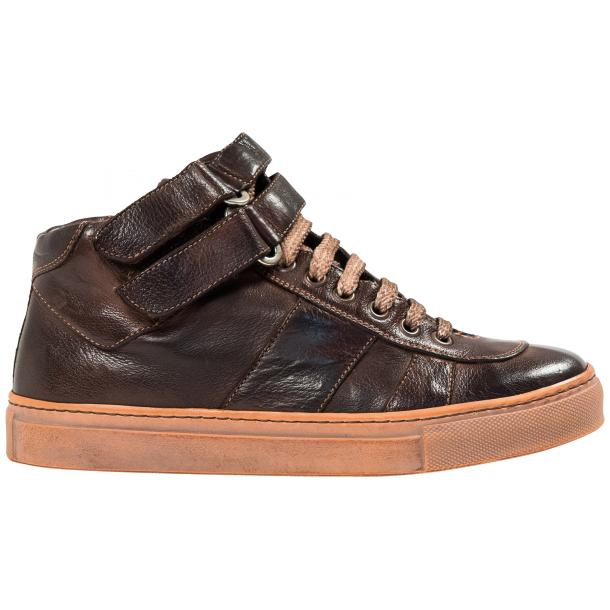 Arlene Brown Nappa Leather Dip Dyed Velcro High Top Sneakers thumb #4