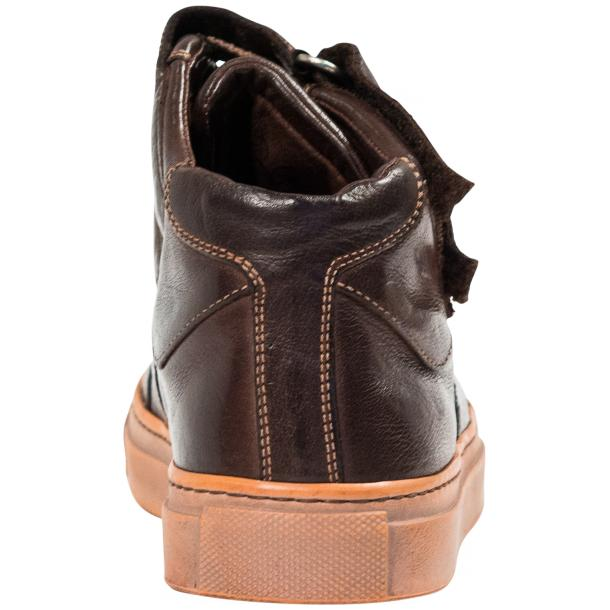 Arlene Dark Brown Nappa Leather Dip Dyed Velcro High Top Sneakers full-size #5
