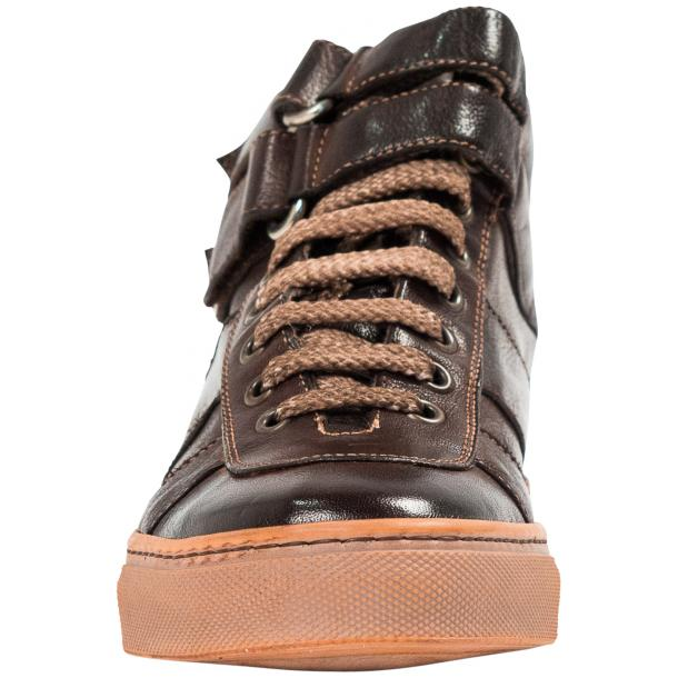 Arlene Brown Nappa Leather Dip Dyed Velcro High Top Sneakers thumb #3