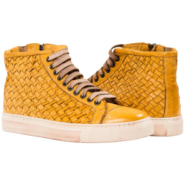 Melinda Dip Dyed Mahogany Hand Woven High Top Sneaker  full-size #1