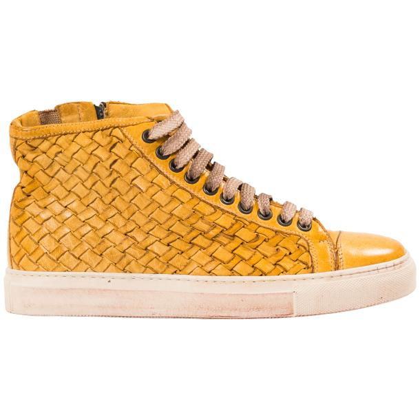 Abie Dip Dyed Mahogany Hand Woven High Top Sneaker  thumb #4