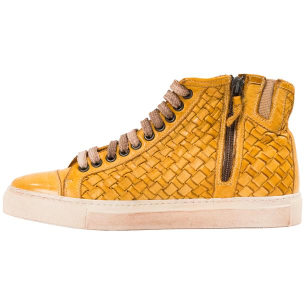 Abie Dip Dyed Mahogany Hand Woven High Top Sneaker  thumb #6