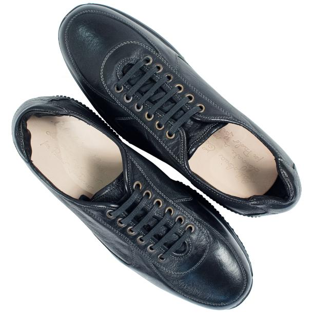 Fredo Black Smoke Nappa Leather Thick Rubber Sole Sneakers  full-size #2