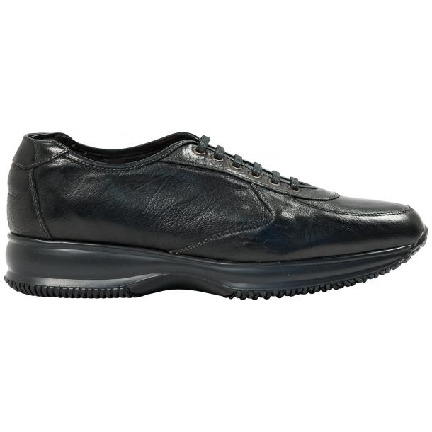 Fredo Black Smoke Nappa Leather Thick Rubber Sole Sneakers  full-size #4