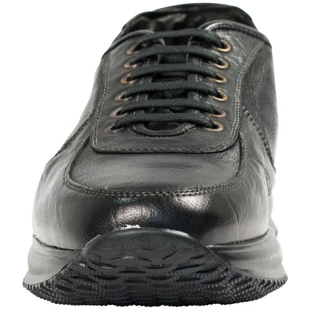 Fredo Black Smoke Nappa Leather Thick Rubber Sole Sneakers  full-size #3