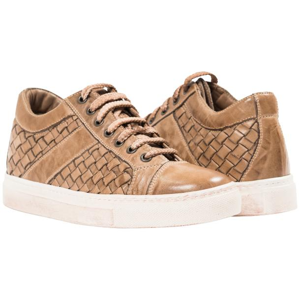 Destina Dip Dyed Beige Hand Woven Low Top Sneaker  thumb #1