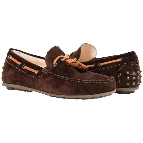 Matthew Chocolate Suede Rubber Pebble Drivers Loafers  full-size #1