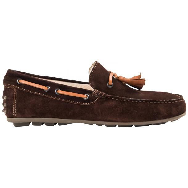 Matthew Chocolate Suede Rubber Pebble Drivers Loafers  full-size #4