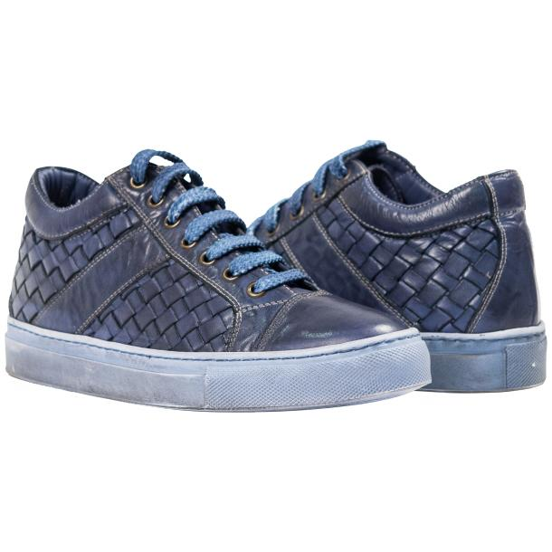 Destina Dip Dyed Blue Hand Woven Low Top Sneaker  full-size #1