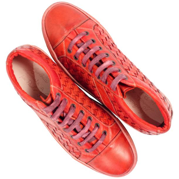Veronica Dip Dyed Red Hand Woven Low Top Sneaker  thumb #2
