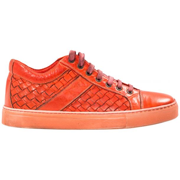 Veronica Dip Dyed Red Hand Woven Low Top Sneaker  thumb #4