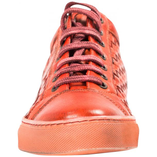 Veronica Dip Dyed Red Hand Woven Low Top Sneaker  thumb #3