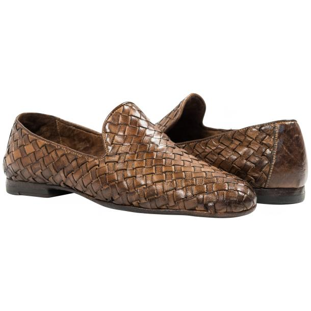 Scott Dip Dyed Moor Nappa Leather Hand Woven Slip Ons  thumb #1