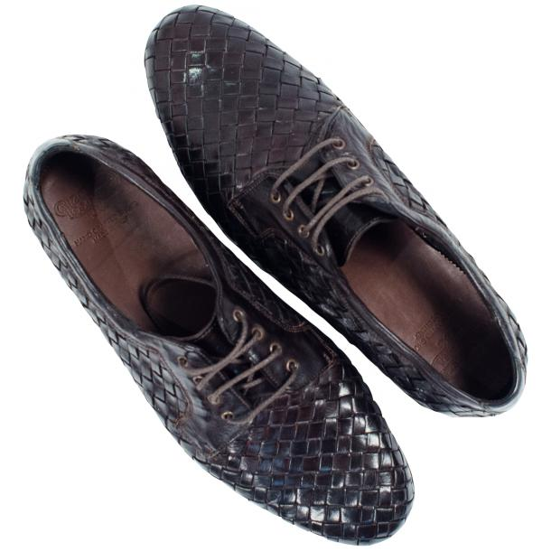 Kirk Dark Brown Dip Dyed Nappa Leather Hand Woven Lace up thumb #2