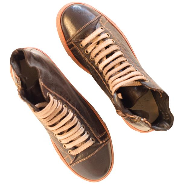 Monica Dip Dyed Dark Brown Leather Sneakers full-size #2