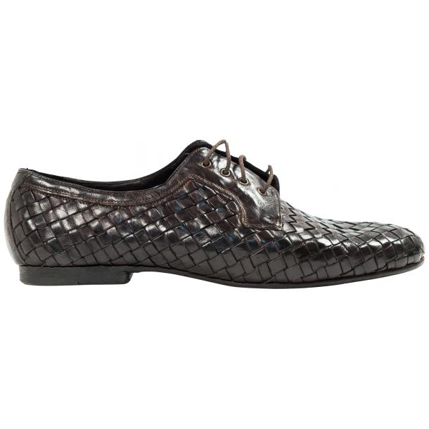 Kirk Dark Brown Dip Dyed Nappa Leather Hand Woven Lace up thumb #4