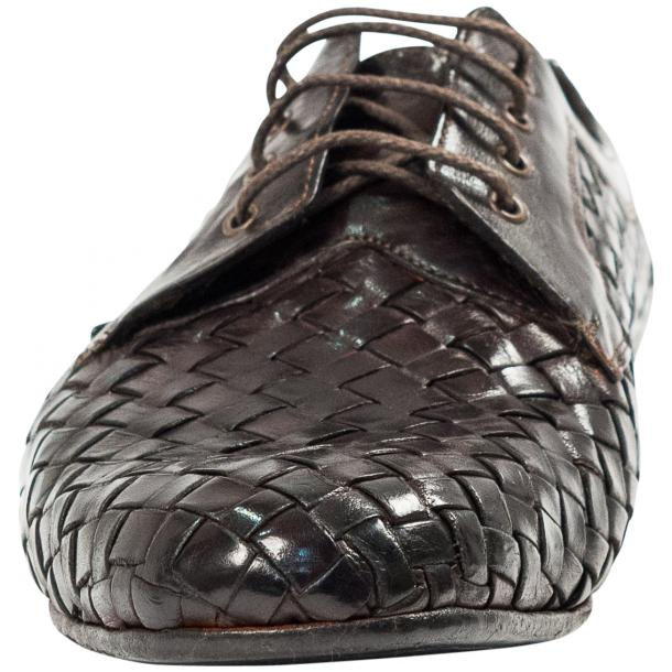 Kirk Dark Brown Dip Dyed Nappa Leather Hand Woven Lace up thumb #3