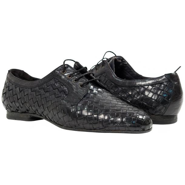 "Kirk Dark Grey ""Stone"" Dip Dyed Nappa Leather Hand Woven Laced up Shoes full-size #1"