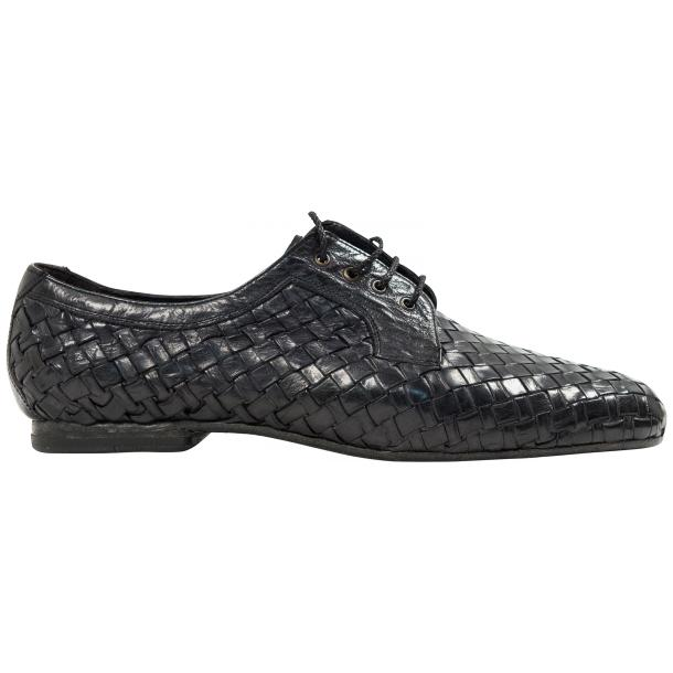 "Kirk Dark Grey ""Stone"" Dip Dyed Nappa Leather Hand Woven Laced up Shoes thumb #4"