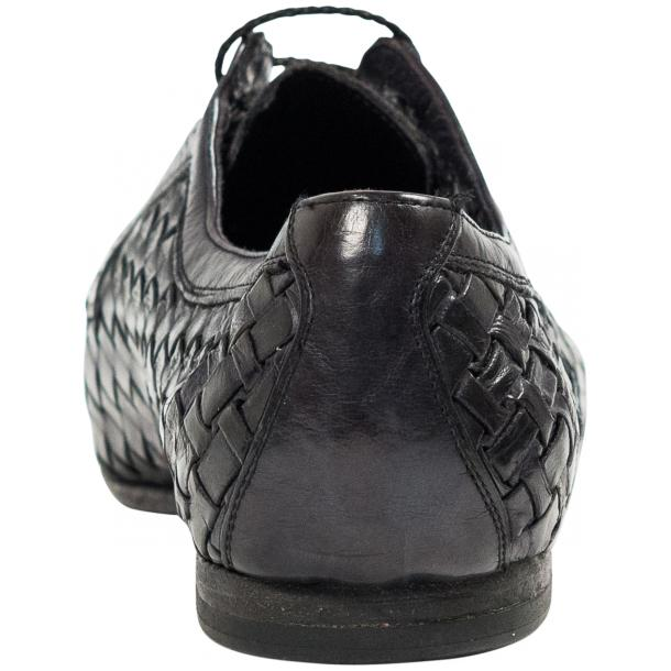 "Kirk Dark Grey ""Stone"" Dip Dyed Nappa Leather Hand Woven Laced up Shoes thumb #5"
