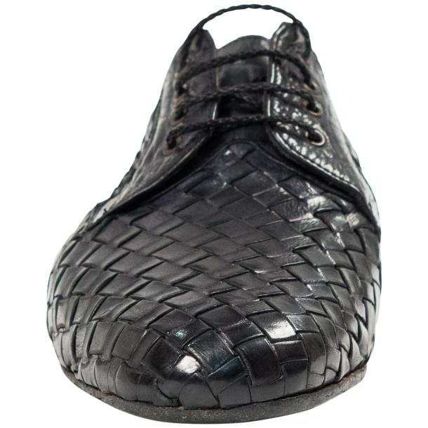 "Kirk Dark Grey ""Stone"" Dip Dyed Nappa Leather Hand Woven Laced up Shoes thumb #3"