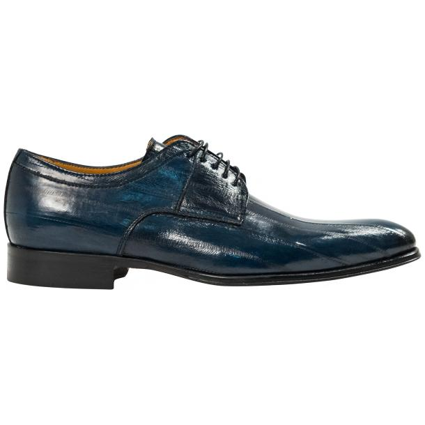 Craig Blue Eel Skin  Laced up Dress Shoes full-size #4