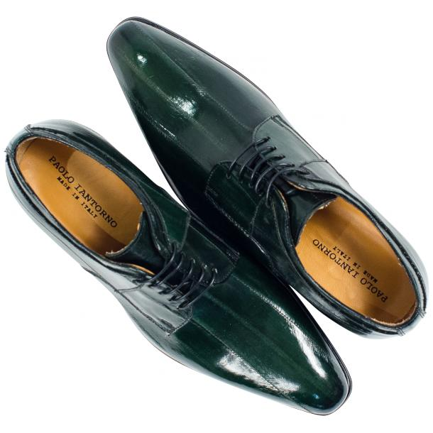 "Craig Dark Green ""Verde""  Eel Skin  Laced up Dress Shoes thumb #2"