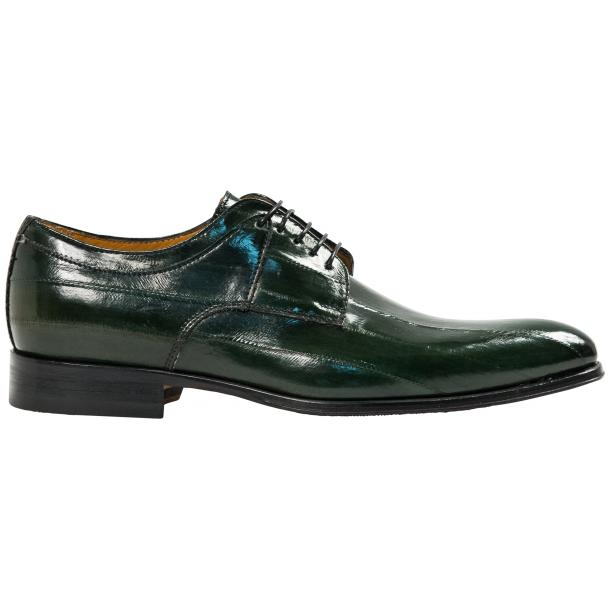 "Craig Dark Green ""Verde""  Eel Skin  Laced up Dress Shoes thumb #4"