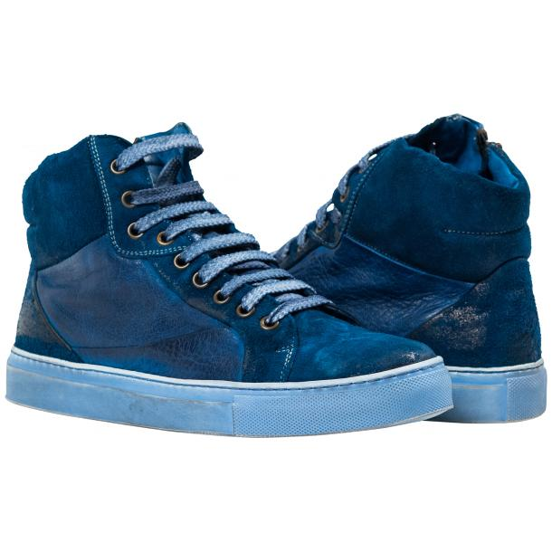 Angelique Dip Dyed Indigo Nappa Leather and Suede High Top Sneaker thumb #1