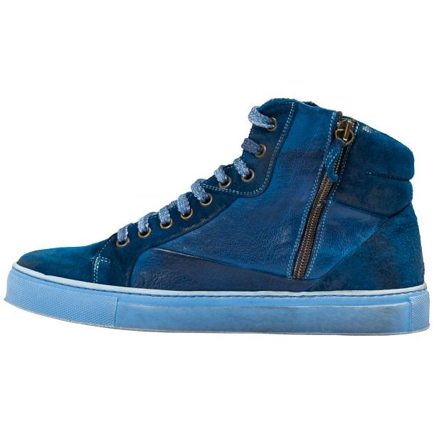 Angelique Dip Dyed Indigo Nappa Leather and Suede High Top Sneaker thumb #6
