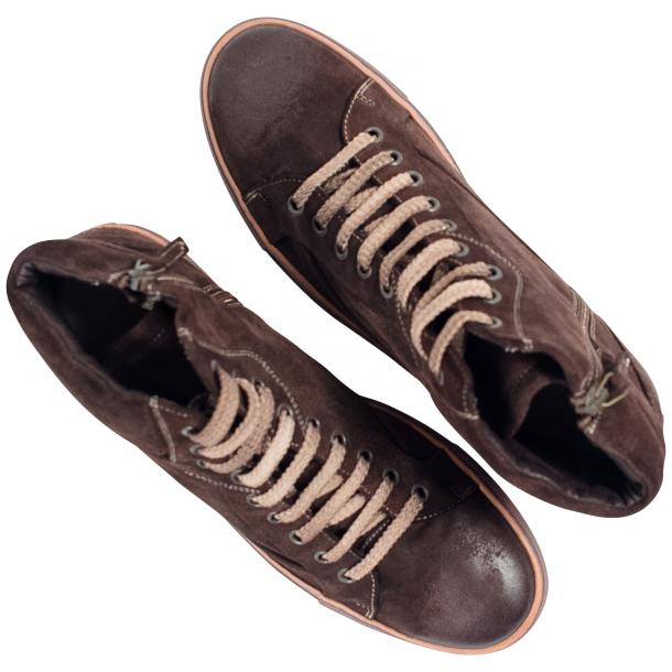 Sofie Dip Dyed Chocolate Brown Suede High Top Sneaker thumb #2