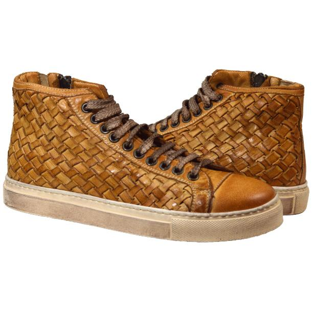 Abie Dip Dyed Brick Hand Woven High Top Sneaker  full-size #1