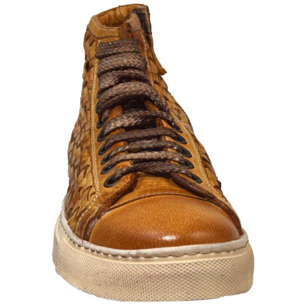 Melinda Dip Dyed Brick Brown Hand Woven High Top Sneaker  thumb #2