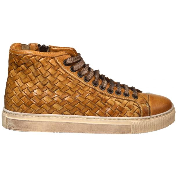 Melinda Dip Dyed Brick Brown Hand Woven High Top Sneaker  thumb #3