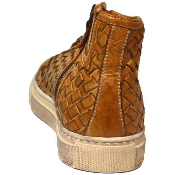 Melinda Dip Dyed Brick Brown Hand Woven High Top Sneaker  thumb #4