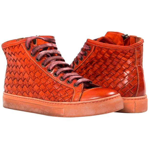 Melinda Dip Dyed Red Hand Woven High Top Sneaker  full-size #1